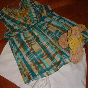 New York and Company Size 14 Turquoise Shirt